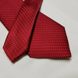 Red Polyester NAUTICA Dotted & Striped Tie